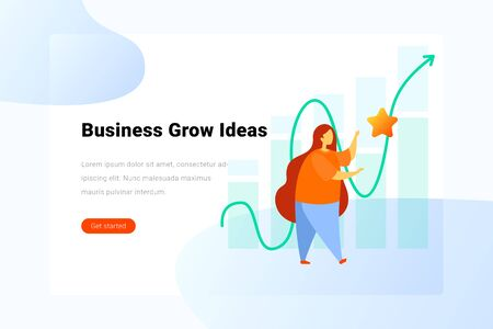 Business Grow Ideas concept Woman catches star on chart background  Flat vector illustration. Landing Page design template.