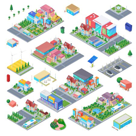 Countryside Cottage Isometric scene generator city creator vector design objects illustration. Private residence villa shopping mall school kindergarten buildings park cafe cars street objects collection.