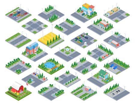 Countryside Road Isometric scene generator city creator vector design objects illustration. Cottage Private residence buildings park cafe cars street objects collection.