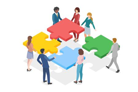 Isometric Teamwork Partnership Leadership flat design vector illustration. Team of People work gathering four Parts of Puzzle