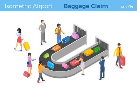 People pick up luggage in Airport Baggage Claim area from Conveyor Belt isometric vector illustration