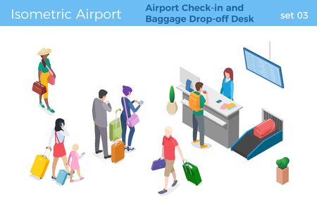People standing and walking in Airport Check-in and Baggage Drop-off Desk area Man is checking in for flight isometric vector illustration