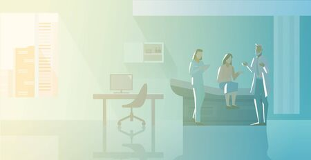 Reception at Therapist Orthopedist doctors office Flat vector illustration. Doctor with Nurse talking with Patient Medical Clinic interior collection.