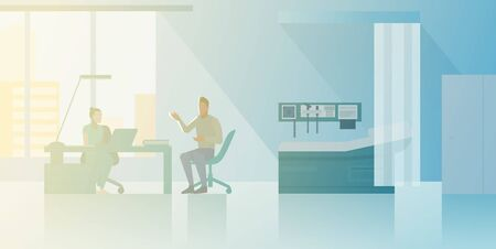 Reception at Therapist Orthopedist doctor's office Flat vector illustration. Doctor talking with Patient Medical Clinic interior collection.
