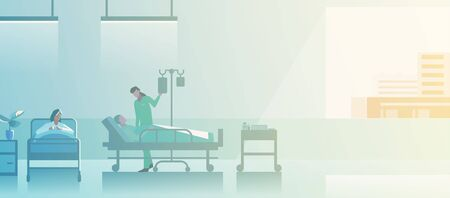 Doctor Nurse in medical ward with Patients on medical beds Flat vector illustration. Medical Clinic Hospital interior collection. 向量圖像