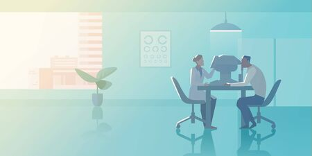 Reception at Ophthalmologist doctors office Flat vector illustration. Doctor checks vision of Patient in Medical Clinic interior collection.