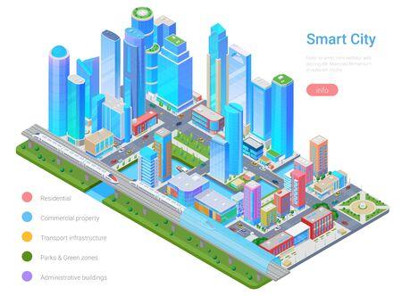 Smart City Megalopolis Skyscraper Isometric flat vector illustration infographics.