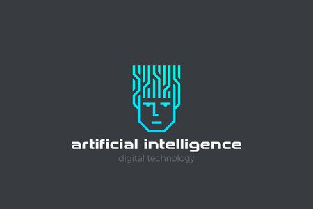 Artificial Intelligence Logo AI Man Robot Face Head Linear Outline Neon style. Neural Network think digital technology design icon