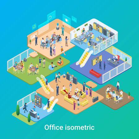 Isometrische Büroleben Leute, die flache Designillustration des Vektors arbeiten