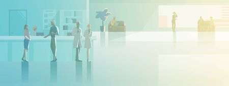 Reception in Hospital flat vector illustration. Patients Visitors standing at registration desk with Doctor and Nurse waiting in Hall Medical Clinic interior collection.