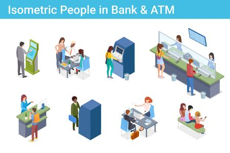 Isometric People in Bank ATM Cash-desk Pay Terminal flat vector illustration