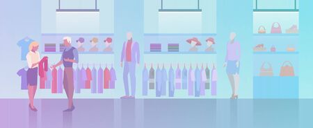 People shopping in Clothes Store Fashion Shop Mall Flat vector illustration. Customer and vendor assistant talking and looking on goods.