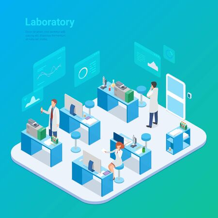Isometric Laboratory Chemistry Medical Virus Lab flat vector illustration. People Scientists working sitting standing with vaccine from virus