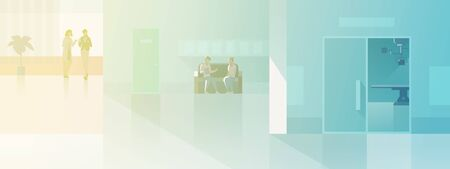Hall in Hospital Medical Clinic interior collection flat vector illustration. Doctor Patients Visitors standing sitting at waiting room