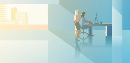 Office interior open space flat design vector illustration. Man sitting working with desktop computer with Boss customer client standing.