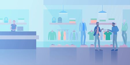 People shopping in Clothes Store Fashion Shop Mall Flat vector illustration. Customer and vendor assistant near cash-desk