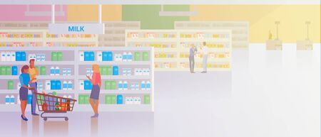 People shopping in Supermarket Store Shop Mall Flat vector illustration. Couple Man and Woman buying products food with shopping cart walking near Fruits and Vegetables. 向量圖像