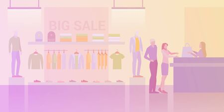 People shopping in Clothes Store Fashion Shop Mall Flat vector illustration. Customers paying at cash-desk 向量圖像