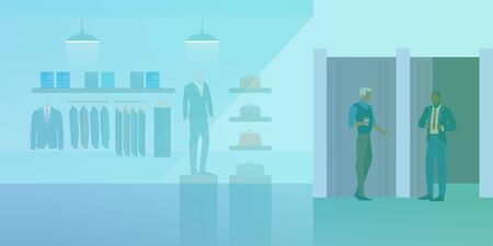 People shopping in Clothes Store Fashion Shop Mall Flat vector illustration. Customer and vendor assistant near dressing room