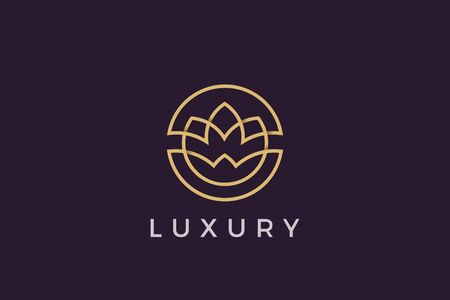 Flower circle Logo abstract design vector template Luxury linear outline style. Cosmetics Fashion SPA Jewelry Logotype concept icon 向量圖像