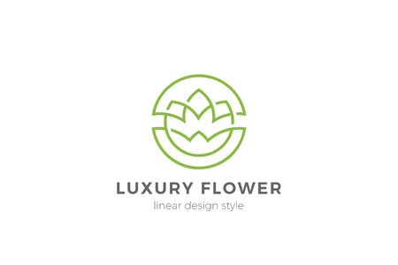 Flower Garden Floral Logo Circle shape design Linear Outline Luxury style. Cosmetics Fashion SPA Beauty salon Jewelry Boutique Wedding Logotype icon symbol abstract. 向量圖像