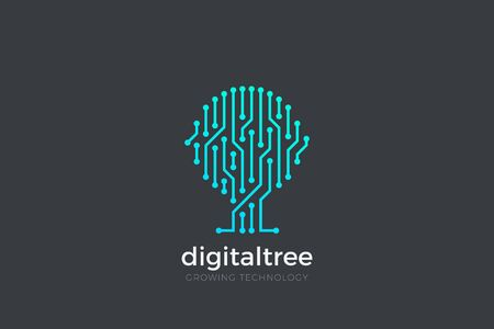 Digital Tree as AI Chip electronics Circuit lines Logo design abstract vector template. Artificial intelligence Logotype icon concept.