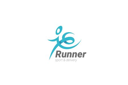 Running Man Logo design abstract character vector template. Sport Fitness Delivery Logotype concept icon. 向量圖像