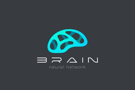 Brain AI Artificial Intelligence Logo Neural Network design abstract vector template. Digital Technology Brainstorm Think Psychology Logotype icon.