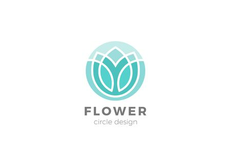 Flower Garden Floral Logo Circle shape design Linear Outline Luxury style 向量圖像