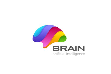 Colorful Brain Logo design abstract vector template. Creative Brainstorm Think Artificial Intelligence Psychology Mind Logotype concept icon.