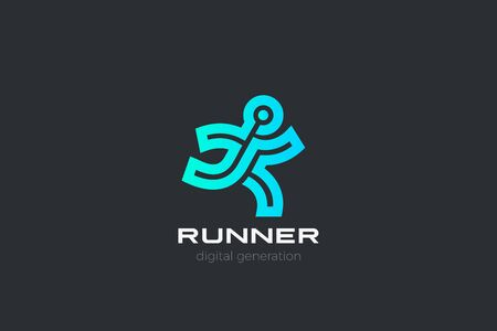 Running Man Delivery Logo design vector template Linear Outline style. Runner Logotype Sport Fitness Gym Athletics icon. 向量圖像