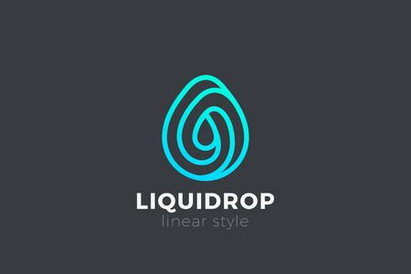 Water drop Logo design vector template Linear style. Blue Droplet lines aqua Logotype icon 向量圖像