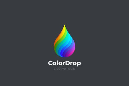 Colorful Liquid Water Droplet Drop Logo design vector template. Energy Mix Drink Logotype concept icon.
