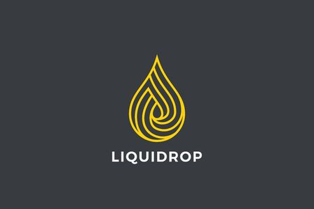 Water Droplet Drop Logo design vector template Linear Outline style. Natural Mineral Aqua Drink Oil Liquid Energy Logotype infinity concept icon.