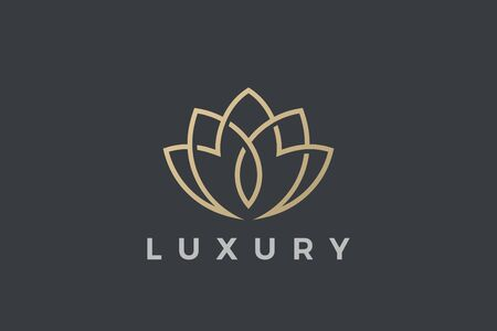 Flower Logo Lotus abstract Luxury design for Cosmetics Fashion Jewelry SPA Beauty salon company business brand. Gold Plant Logotype concept outline icon.