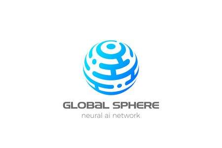 Sphere Logo Circle abstract design HiTech communication vector template. Neural network Artificial intelligence AI internet web Logotype concept icon.