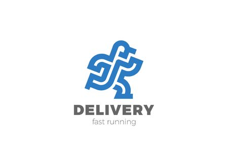 Delivery Man Running Logo design vector template Linear Outline style. 向量圖像