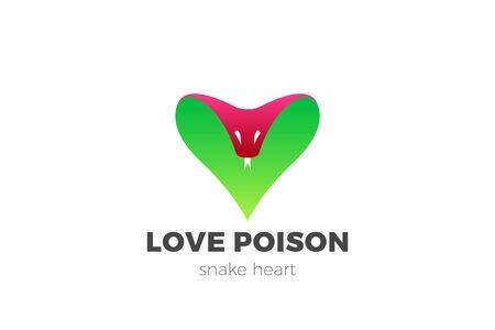 Snake Cobra Logo Heart shape design vector template. Unhappy Love Poison Dating Logotype concept icon 向量圖像