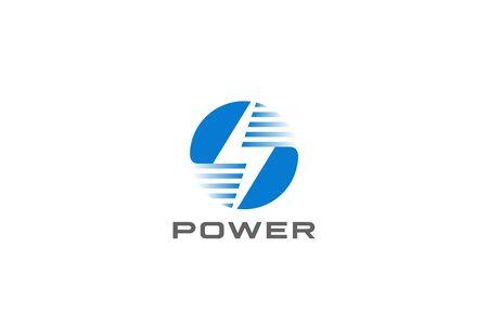 Flash Bolt Energy Logo Power design vector template Negative space style. Circle Thunderbolt icon.
