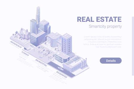 Isometric Flat 3D Smartcity Skyscraper business district vector concept. Vecteurs