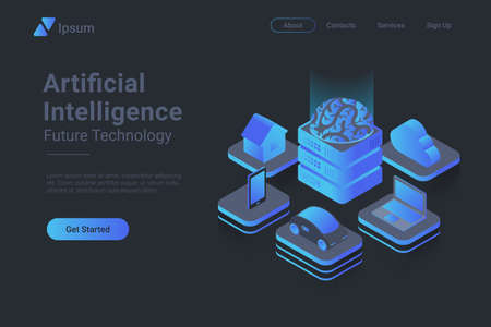 Artificial intelligence Brain controls devices Isometric Flat vector concept.