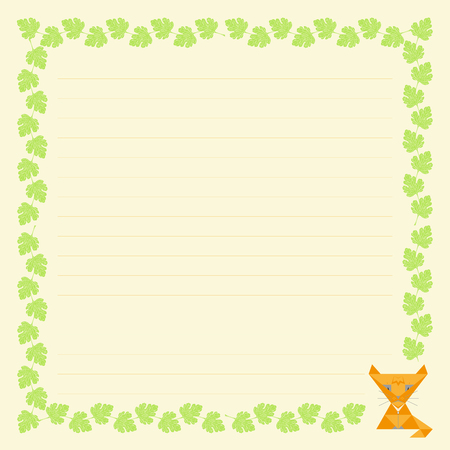 The design of the sheet for letters and text, a child's drawing of a cat and the leaves of the Bush for card design page notebook ornament, pattern, empty, the scheduler background