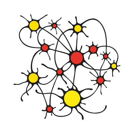 Illustration of colored circles and a black outline, connected by lines, connection of neurons in biology or the relationship between the planets, nodes of the contour template to print plan