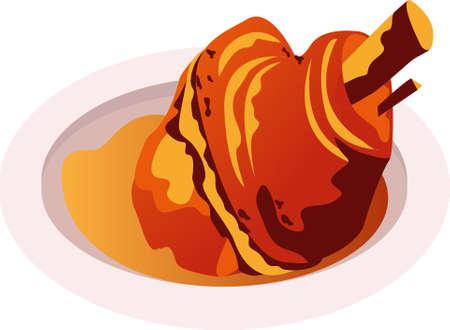 pork knuckle tradition bavarian food.vector illustration