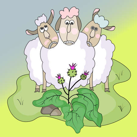 domestic animals and plants.sheeps and burdock.funny vector illustration