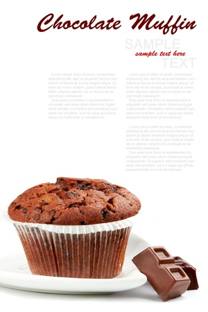 Tasty Chocolate Muffin Isolated on a white Background Stock Photo
