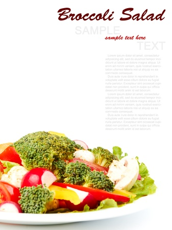 Fresh Broccoli Salad isolated on a white backgound photo
