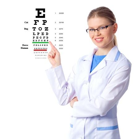 Óptico, médico optometrista mujer, aislado en blanco