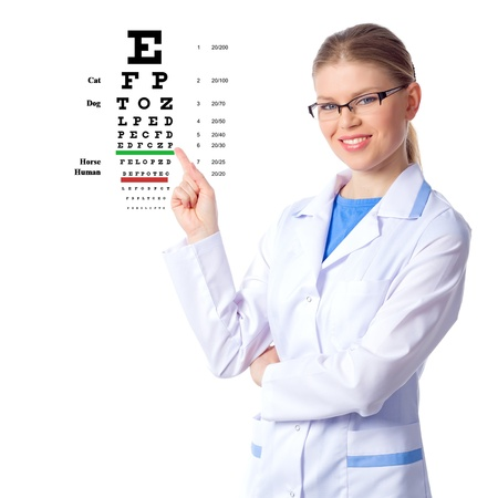 Optician, optometrist woman doctor, isolated on white  photo