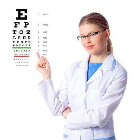 eye exam: Female optician doctor showing eye chart, isolated